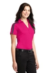 L547 Ladies Silk Touch™ Performance Colorblock Stripe Polo
